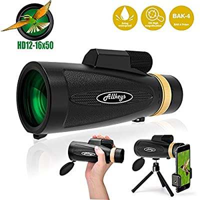 Monocular Telescope for Adults,12X50 High Power HD Monocular with Smartphone Holder Tripod, Zoom BAK4 Prism FMC Waterproof Monoscope for Bird Watching Hunting Camping Travelling Wildlife Scenery Match