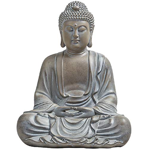 Meditating Buddha Statue Outdoor Large, Zen Garden Statues, 10.3inch Buddha Serene Decorative Sitting Sculptures for Home Indoor Outdoor Garden Patio Desk Porch Yard Art Decoration (Waterproof)