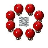 FBSHOP(TM) 8PCS Rot Baby-Kind-Kindermöbel Schubladen Möbelgriffe Dekorative Kirsche Keramik Tür Kabinett Schubladen knöpfe Pull Form griffe Kreative Schrank Türknauf mit Schrauben
