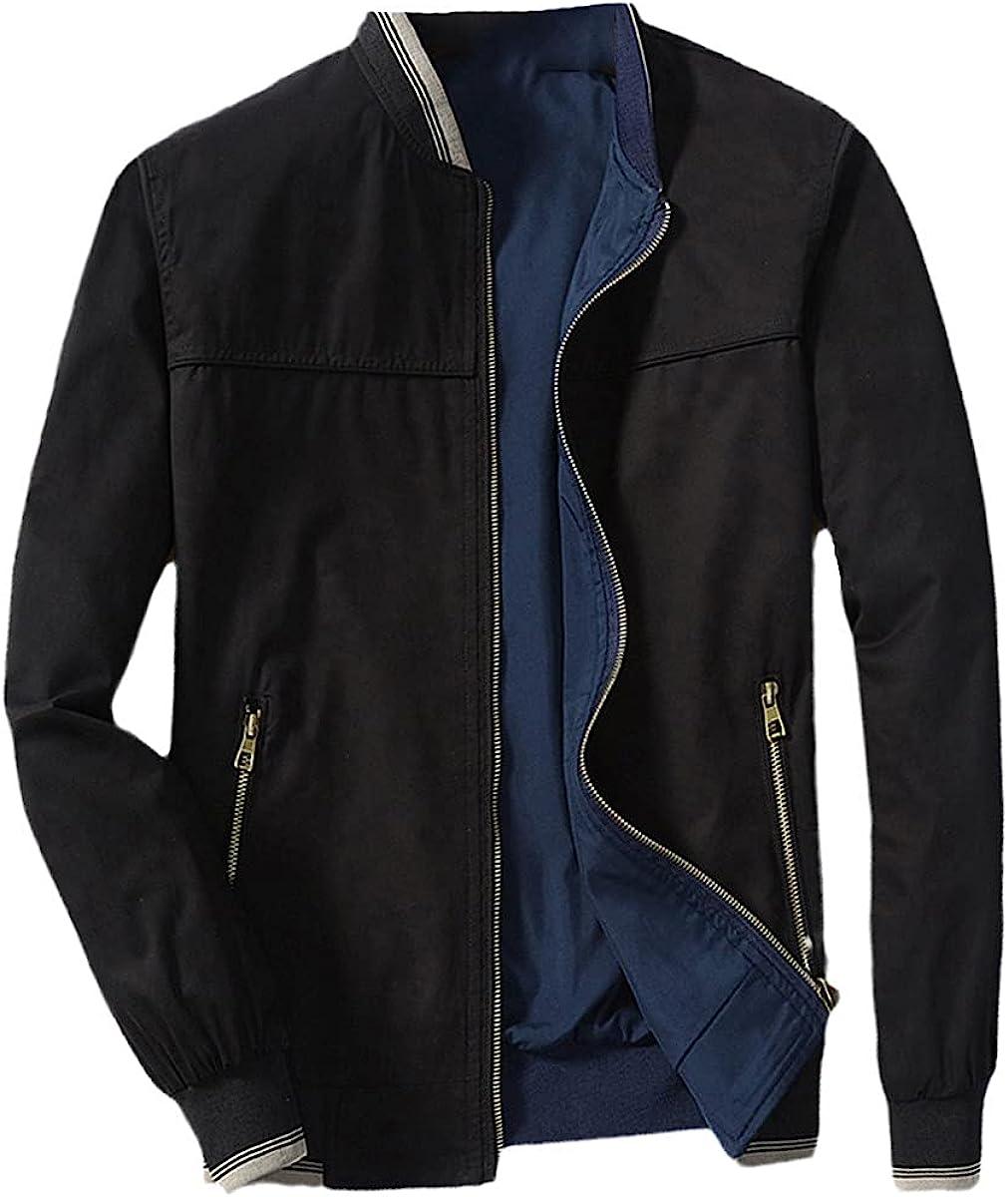 Spring Men's Bomber Jacket Casual Windbreaker Stand Collar Double-Sided Wear Jacket Baseball Uniform