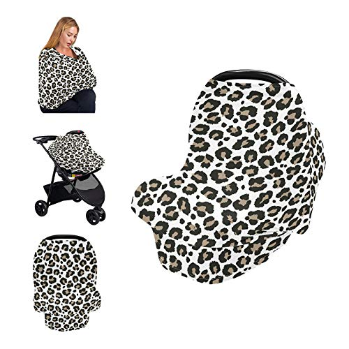 Nursing Cover Breastfeeding Scarf Leopard  Baby Car Seat Covers Canopy Cheetah Print  Soft Breastfeeding Cover for Infants Babies Nursing Apron Cover Baby Shower Gifts for BoyampGirl