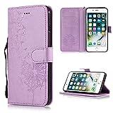 GHC Fundas & Covers para iPhone XS MAX, teléfono Volver Cubierta de la Carpeta del Caso del tirón para el iPhone XR X 5 5S 6S 8 7 Plus (Color : Purple Dandelion, Material : For iPhone 5 5S SE)