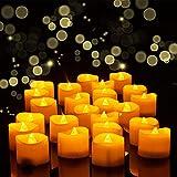 Velas LED con temporizador, 24 unidades de luces LED sin llama, parpadeantes eléctricas, 6 horas encendidas - 18 horas apagadas, funciona con pilas, decoración para Navidad, Pascua, bodas, fiestas