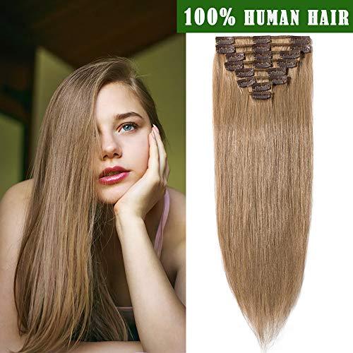 SEGO Extension a Clip Cheveux Naturel Remy Rajout Meche Humain - 35 CM 27#Blond Foncé - [Mini Volume] Lisse Raide 100% Human Hair