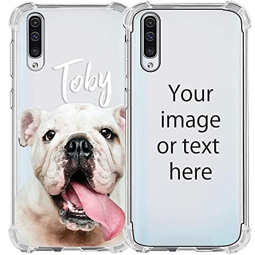 My Printery Funda Personalizada Transparente con Cordón para Samsung Galaxy A50 - Carcasa de Silicona para Personalizar con Fotos, Imagen, Logotipo - Blanco