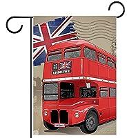 庭の旗芝生の装飾庭の装飾屋外の農家の装飾ホオジロ旗英国の赤いバス 両面バナー