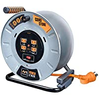 MasterPlug 50' Heavy Duty Metal Extension Cord Reel with 4-120V 15amp Integrated Outlets and 12 Gauge High Visibility Cord