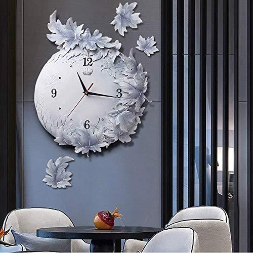 VIWIV Reloj de pared reloj de pared tamaño mudo relieve pared tallada a mano Zhong Feng hoja gris resina decorativa simple nórdico creativo arte moderno página 42 x 42 cm