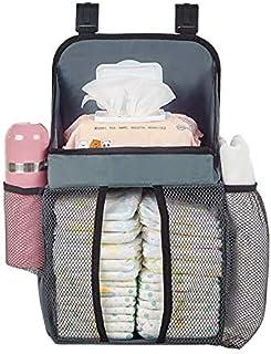 SAPU Hanging Diaper Bedside Caddy Organizer,Portable Nursery Baby Bed Crib Toy Storage Bag Bunk Bed Clothing Organizer for...
