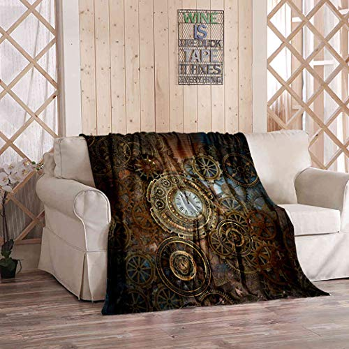 Kuidf Vintage Throw Blanket Rusty Steampunk Clock and Different Kinds of Gears Flannel Bedding Blankets Luxury Oversized for Couch Bed or Sofa 60x80 Inches