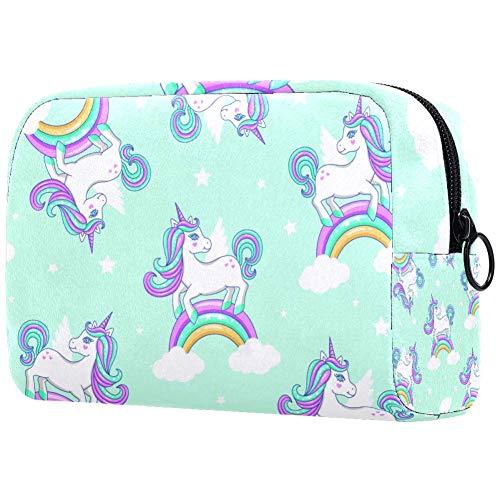 TIKISMILE - Grand sac à maquillage avec motif licorne arc-en-ciel