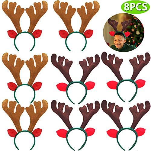 8 PCS Christmas Reindeer Antlers Headband Xmas Deer Horn Headband Hair Hoop Funny Cute Antler Headband with Ears for Christmas Holiday Festival Party