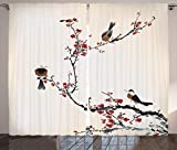 Ambesonne Nature Curtains, Birds on Cherry Tree Branches Summer Classic Oriental Illustration, Living Room Bedroom Window Drapes 2 Panel Set, 108' X 84', Ruby Caramel