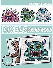 Libro para colorear - Pixels Monstruos: Cuaderno de dibujo de pixel art para niños y adultos - Cuaderno grande de pixel art cuadrado. Cuaderno de ... de colorear pixel art para niños y adultos