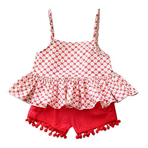 K-youth Conjuntos Bebe Niña Verano, Ropa de Tirantes Niñas Tops Plisado de Flores con Sin Manga para Niña y Pantalón Corto Bebé Niñas (Rojo, 6-7 años)