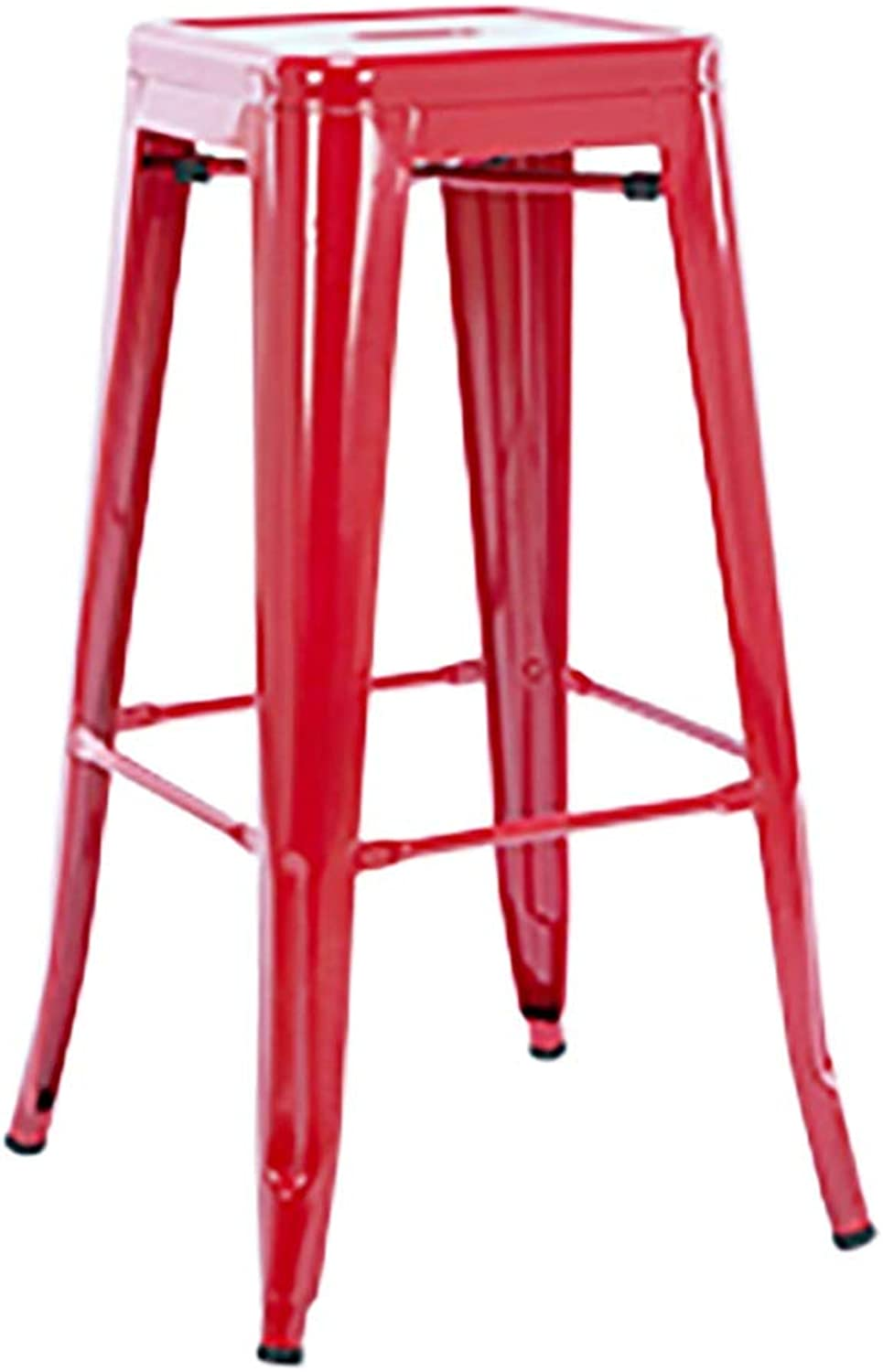 TXXM Barstools Title:Metal bar Stool bar Stool high Stool Low Stool Iron Stool Wrought Iron Solid Wood Home bar Chair (color   Red, Size   D(76cm))