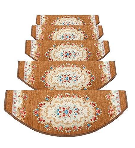 ZENGAI con Protezione dei Bordi Tappeto per Runner Scale Tappetino Pad 5 Pezzi Tappetino Stile Europeo, 5 Taglie (Colore : 1#-5 Pieces, Dimensioni : 100x(24+3) cm)