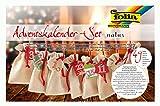 folia 63121 - Adventskalender Set mit Säckchen in Jute-Optik, Schnur 2 m lang, 24 Beutel je 10 x 13...