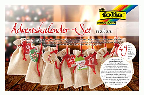 folia 63121 - Adventskalender Set mit Säckchen in Jute-Optik, Schnur 2 m lang, 24 Beutel je 10 x 13 cm groß und 24 Zahlenanhängern, für kleine Überraschungen im Advent