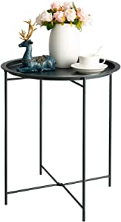 HollyHOME Folding Tray Metal Side Table, Sofa Table Small Round End Tables, Anti-Rust and Waterproof Outdoor or Indoor Snack Table, Accent Coffee Table,(H) 20.28