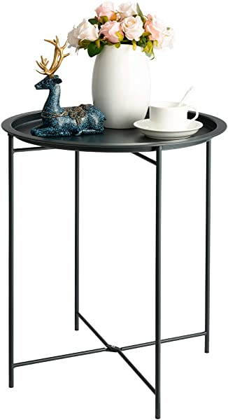 HollyHOME Folding Tray Metal Side Table Sofa Table Small Round End Tables Anti Rust And Waterproof Outdoor Or Indoor Snack Table Accent Coffee Table H 20 28 X D 18 11 Dark Grey