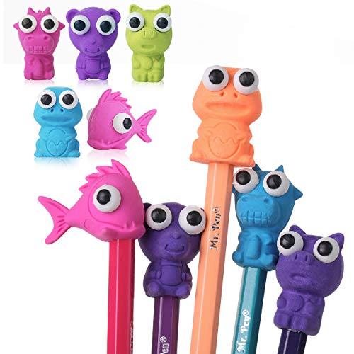 Mr. Pen- Erasers, Cap Erasers, 20 Pack, Animal Eraser Caps, Erasers for Kids, Pencil Eraser, Pencil Erasers Toppers Cute Erasers, Colorful Erasers, Fun Erasers Kids, Pencil Top Erasers, Gift for Kids