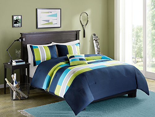 "Comfort Spaces Pierre 3 Piece Comforter Set All Season Ultra Soft Hypoallergenic Microfiber Pipeline Boys Dormitory Bedding, Twin(66""x90""), Stripe Navy/Blue"