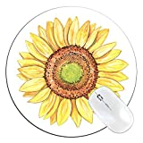 FannyD Sunflower Unique 8' Round Mouse Pad, Low Profile (1/8') with Anti Slip Rubber Backing & Cloth Surface Featuring Art by Fanny Dallaire. for PC, Laptop, Mac (Sunflower)