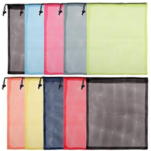 Belle Vous Kordelzug Netzbeutel (10er Pack) 39x33,5 cm Mehrfarbige Nylon Mesh Beutel - Golfballbeutel, Mesh Sack für Wäsche, Spielzeug, Outdoor, Reisen, Netzbeutel Schwimmen, Mesh Bag für Sportzubehör