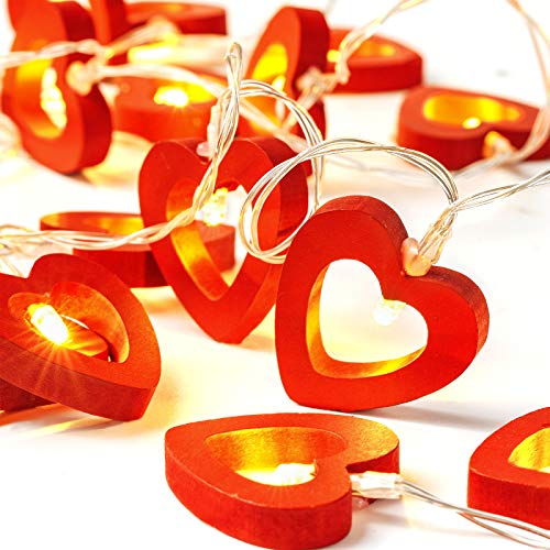 20 LED Warm Red Wooden Heart String Lights Fairy Lights Operated Decorative String Lamp for Valentine's Day Wedding Garden Bedroom Festival Birthday Party Decoration, 10 Feet