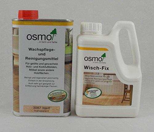 Osmo Spar-Set Wisch-Fix 1l + Wachspflege & Reinigungsmittel weiß 1l, für die Reinigung und Pflege