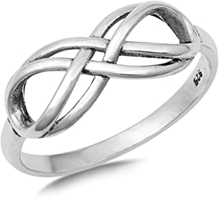 Double Infinity Knot Promise Ring New .925 Sterling Silver Band Sizes 4-10