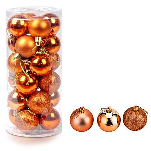 Christmas Ball Pendant, Decorative Shatterproof Christmas Tree Pendants Hanging 40mm Christmas Baubles Balls Ornaments Set Pack of 24 pcs (Orange)