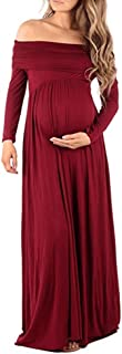 FYMNSI Women Maternity Off Shoulder Long Sleeve Maxi Dresses Pregnant Wedding Party Gown Nursing Baby Shower Dress Photogr...