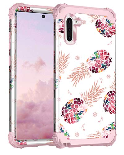 Lontect Compatible Galaxy Note 10 Case Floral 3 in 1 Heavy Duty Hybrid Sturdy High Impact Shockproof Protective Cover Case for Samsung Galaxy Note 10, Pineapple/Rose Gold