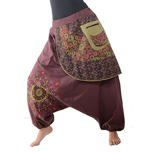 KUNST UND MAGIE Bunte Ibiza Style Haremshose aus Baumwolle Goa Wellnesshose, Größe:S/M, Farbe:Braun