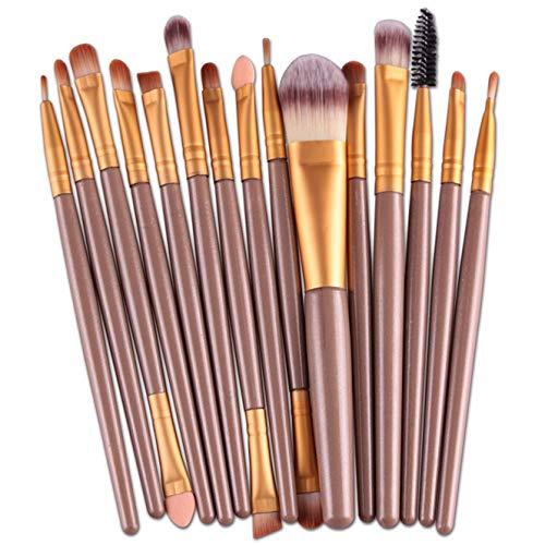 Wolfleague Pinceaux Maquillage 15Pcs / Set Pinceaux De Maquillage Poudre PaupièRes Sourcils éPonge Eye-Liner Deux TêTes LèVres Peigne Maquillage Professionnels (B)