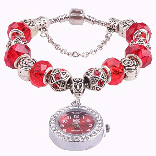 Reloj Pulsera Cristal Abalorios Rojo Hecho A Mano Reloj