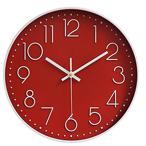 Hoston Reloj de Pared Moderno,Grandes Silencioso Interior Reloj de Cuarzo Redondo sin tictac Decorativos Reloj Pared para Sala Cocina, Dormitorio, Oficina. (Rojo)