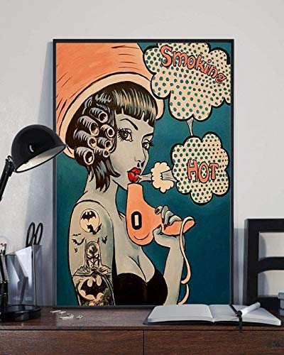 Retro Hairdresser Smoking Hot Vintage Poster Poster Wall Art, Decor Home (12''x18'', 16''x24'' and 24''x36'')