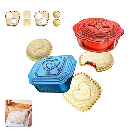 Uncrustables Maker - Falluk Sandwich Cutter and Sealer - 12 Pieces Uncrustables for Boys and Girls Kids Lunch - Healthier, Red and Blue