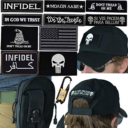 Military Tactical Hat Bundle: 20-in-1 Tool, Operator Cap with Embroidered Morale Patches (Velcro), and Pouch for Airsoft/Paintball - [Black]
