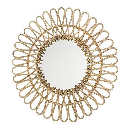 D,casa - Espejo Rattan Redondo Moderno para salón de 55 cm