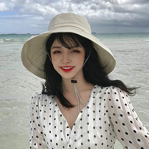 Sonnenhut weiblicher Sonnenschutz große Krempe Hut weibliche koreanische Version des Gezeiten-Sommers wilde japanische Sonnenhut Fischerhut-Eine Größe (56-58 cm)_Beige