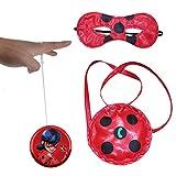 Geenber Ladybug Yo-Yos Ball Toy Set para niños con Bolso y máscara para los Ojos Juguetes creativos de malabarismo Cosplay para niñas Figuras Regalo de cumpleaños