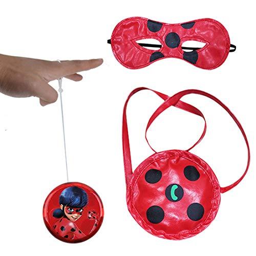 Geenber Miraculous Ladybug Yo-Yos Set di Giocattoli per Bambini con Borsetta e Maschera per Gli Occhi Giocattoli di Giocoleria creativi Giocoleria per