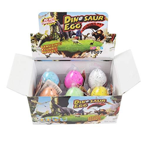 Wenosda Huevos de Dinosaurio Huevo de Juguete Crecimiento Dino Dragon para niños Paquete de Gran tamaño de 6 Piezas, patrón de Puntos de Colores