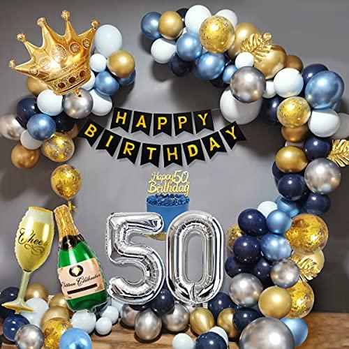 50 Años Cumpleaños Decoraciones Hombres, Decoraciones Fiesta Oro Azul con 50 Globos Papel Aluminio, Pancarta Feliz Cumpleaños, Globos Cazul Marino Dorado Plateado para Cumpleaños 50 Años Hombres