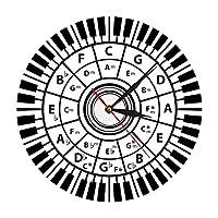 居間のプロのピアノの鍵盤のための壁時計五度圏の壁時計ミュージシャンギフトサークル音楽ハーモニー理論音楽研究作曲家教室の壁の装飾コーヒーショップバーに適しています