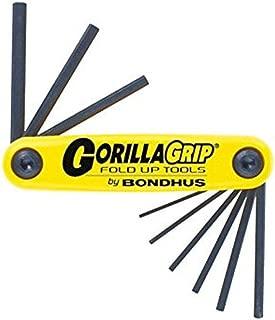 Bondhus 12591 GorillaGrip Set of 9 Hex Fold-up Keys, sizes .050-3/16-Inch